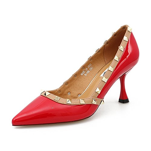 Red And 5Cm 7 Shoes Heel Tip Shoes Versatile Wedding With High red Singles Light Spring Shoes Women'S Thin KPHY Rivets qPR4awSw