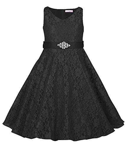 MOREMOO Kids Princess Lace Satin Bridesmaid Pageant Flower
