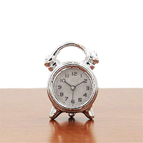 Odoria 1:12 Miniature Silver Alarm Clock Dollhouse Decoration Accessories