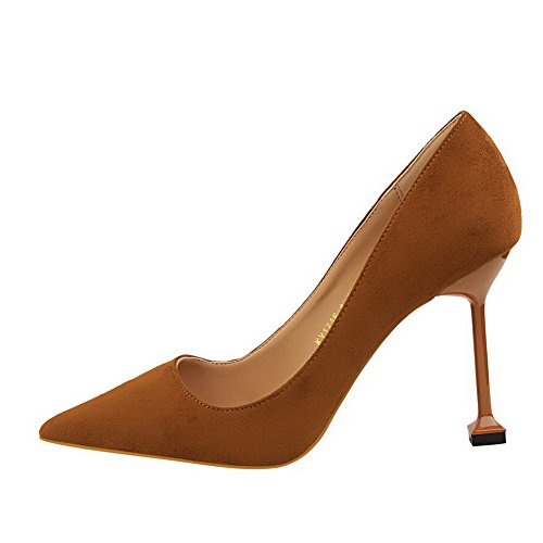 on Camel Shoes Suede Round Heels Pull Solid High WeiPoot Pumps Imitated Women's Toe Closed EfqS74wxO