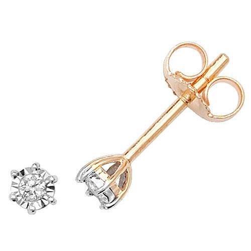 Diamant Boucles d'oreilles clous Illusion Plaque Or Blanc 9Carats H I22D 0,05Carats