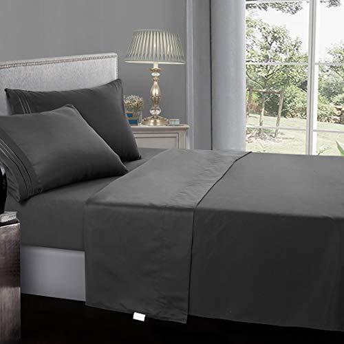 INGALIK Premium Bed Sheet Set 4 Piece Queen Size – 1800 Thread Count Brushed Microfiber – Super Soft Bed Sheets Set,120 GSM Hypoallergenic Fabric – Deep Pocket Sheet Sets(Dark Grey,Queen)