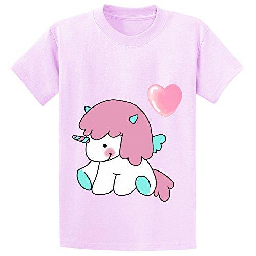 Price comparison product image Chas Pegasus Unicorn Teen Crew Neck Cotton Tees Pink