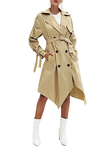 BerryGo Women's Double Breasted Elegant Belted Casual Irregular Long Trench Coat Khaki,M ()