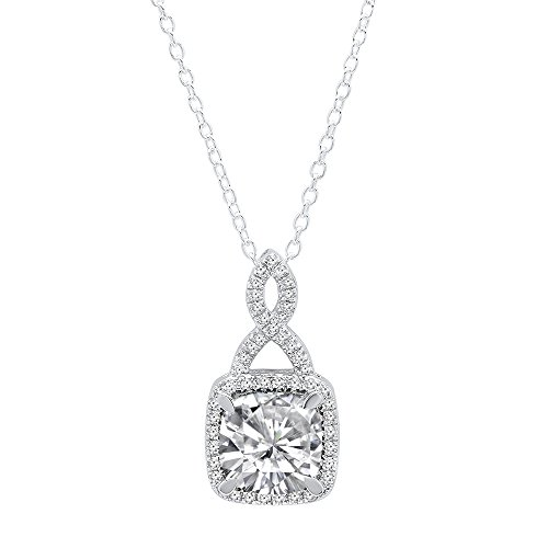 Cushion Diamond Necklace (14K White Gold 8 MM Cushion Cut Lab Created White Sapphire & Round White Diamond Ladies Halo Pendant)