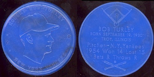 1955 Armour Coins Regular (Baseball) Card# 23 robert bob turley (blue) black swirl of the New York Yankees ExMt Condition