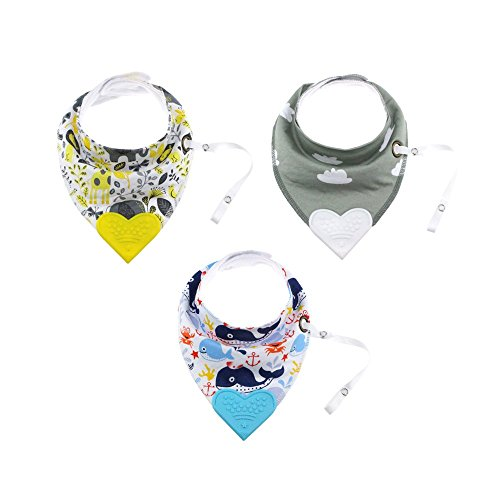 Soft and Absorbant Organic Baby Bandana Bib For Drooling Feeding Teething Set of 3 Bib with Silicon Teether. (nature)