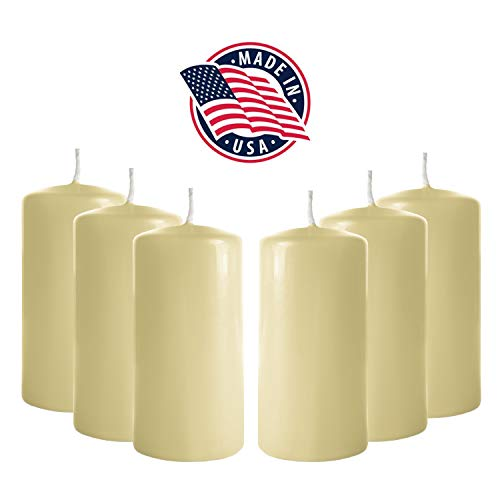Unscented Candle - 3x6 Pillar Candles (Set of 6) Unscented Ivory Pillar Candle Bulk - Tall Pillar Candles for Weddings, Parties, Restaurants, Spa, Bath, Massage Therapy, Religious Ceremonies and Holidays (Ivory)