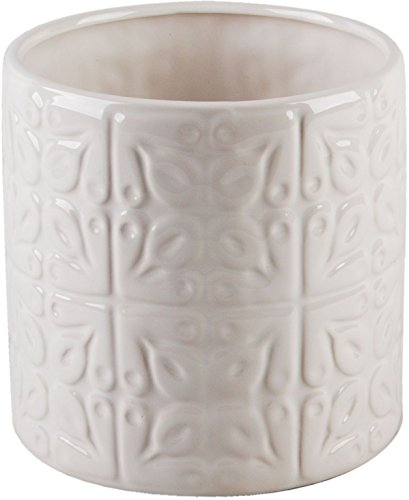 Home Essentials 6 Inches Depth White Embossed Tiles 6.00 Inches x 6.00 Inches x 6.00 Inches Utensil Crock Kitchen (Embossed Crock)