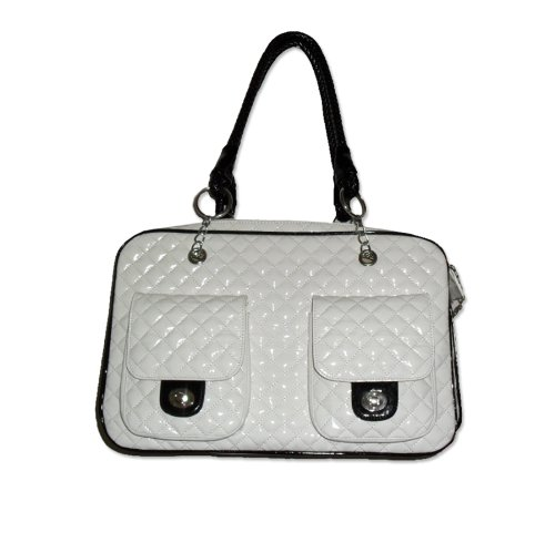 Anima Faux Patent Leather Quilted Carrier, 17-Inch by 8.5-Inch by 10.5-Inch, White Review
