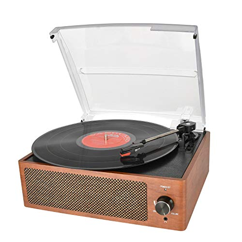 Bluetooth Record Player Belt-Driven 3-Speed Turntable, Vintage Vinyl Record Players Built-in Stereo Speakers, with Headphone Jack/ Aux Input/ RCA Line Out, Wooden (Record Player Brown)