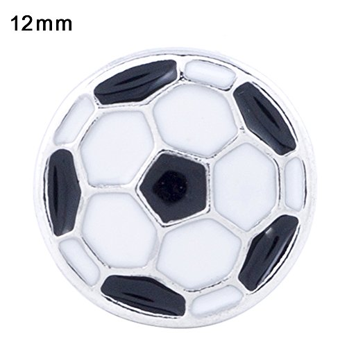 Lovmoment Snap Sport Style Football Silver Plated with Enamel Snaps Buttons Jewelry 2pcs