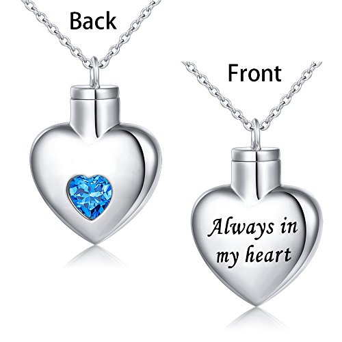 Cremation Jewelry Sterling Silver Always in My Heart Urn Necklace Ashes Keepsake Pendant Necklace, 20'' (with 18'' Chain) by SILVER MOUNTAIN (Image #1)