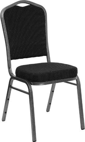Flash Furniture HERCULES Series Crown Back Stacking Banquet Chair in Black Dot Patterned Fabric - Silver Vein (Seat Armless Stack Chair)