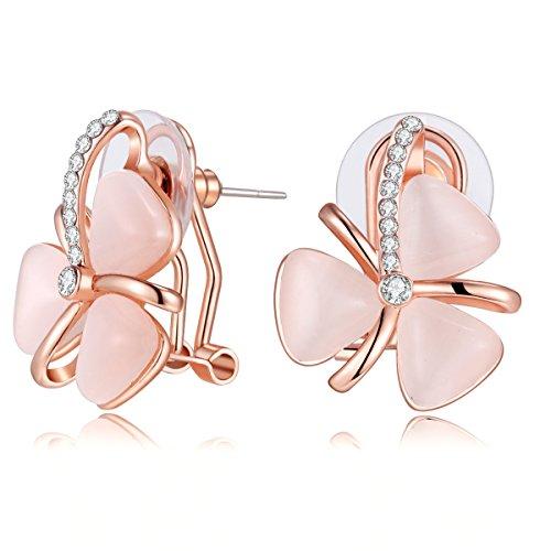 Carfeny Rose Gold Rhinestone Earrings with Pink Opal, Three Leaf Clovers Flower Stud Earrings, Beautiful Butterfly Earrings for Kids