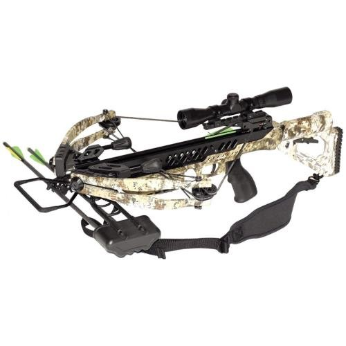 SA Sports Empire Aggressor Lite Compound Crossbow Package (Camouflage) with 4x32 Scope, 175 lb, 340 FPS -