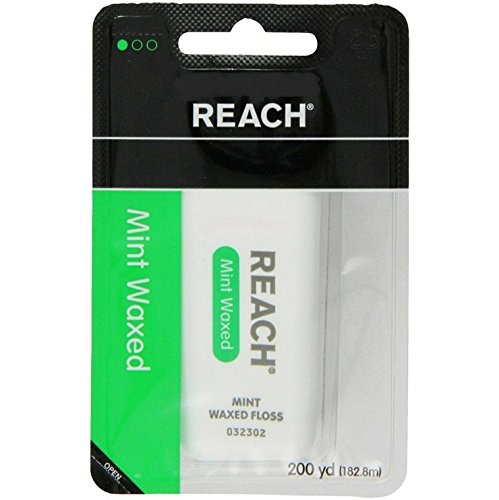 Reach Unwaxed Unflavored Floss Dental - Reach Waxed Dental Floss for Plaque and Food Removal, Refreshing Mint Flavor, 200 Yards each (Value Pack of 6)