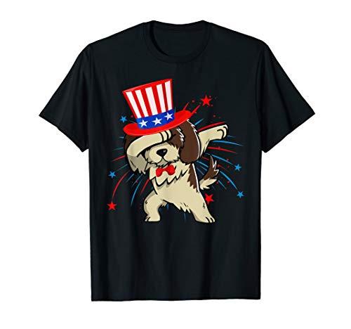Dabbing Shih Tzu With USA Hat Firework 4th Of July Tshirt