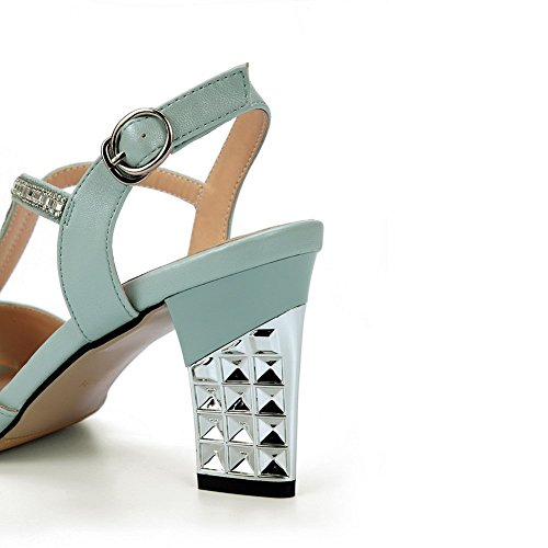 Material 1TO9 Womens Heel Blue Kitten Rhinestones Studded Sandals Heels Soft 00qTr