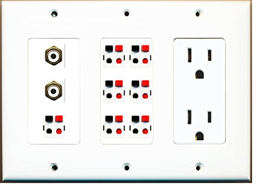 (RiteAV - (3 Gang) 15A Power Outlet 2 RCA White 7 Speaker Jack White)