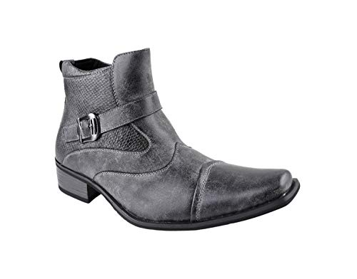 Delli Aldo Men's Gustavo Ankle High Dress Boots | Buckle Strap | Shoes | Grey 9.5