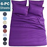 King Size Beds for Sale Shilucheng King Size 6-Piece Bed Sheets Set Microfiber 1800 Thread Count Percale | 16 Inch Deep Pockets | Super Soft and Comforterble | Wrinkle Fade and Hypoallergenic(King, Purple)