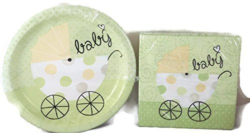 Two Unisex Baby Shower Paper Plates and Napkins for 18 Item Bundle by Greenbrier 2