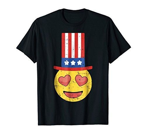 Funny Heart Eyes Emoji Shirt 4th Of July American Party -