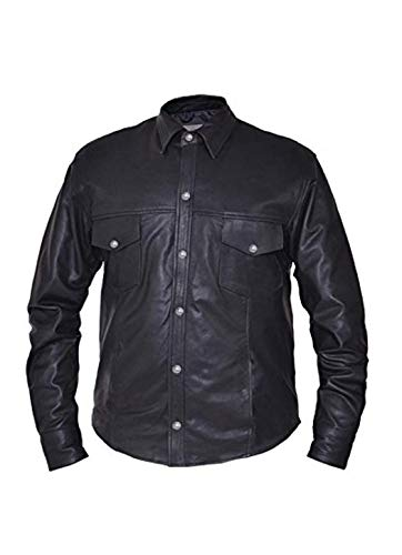 Unik International Mens Premium Lightweight Leather Motorcycle Shirt with Buffalo Nickle Snaps Medium