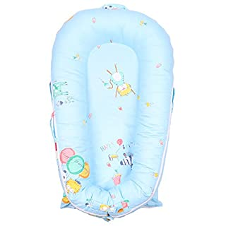 Baby Lounger Cover for Dock A Tot Deluxe | Premium Quality Newborn Lounger Cover | 100% Cotton Hypoallergenic Extra Cover for Dock A Tot Docks | Ideal Fit for Dock A Tot Deluxe+ | (Cover Only) (Blue)
