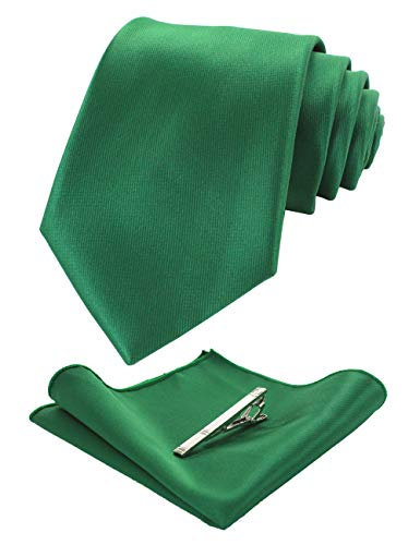 (JEMYGINS Mens Formal Green Necktie and Pocket Square, Hankerchief and Tie Bar Clip Sets)