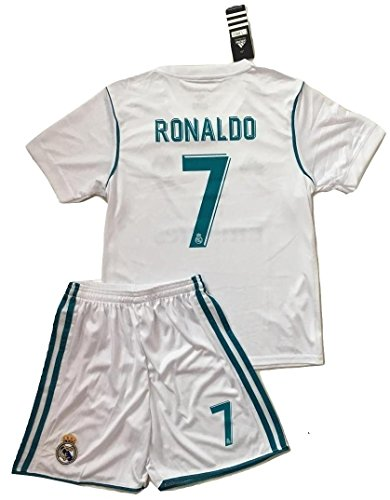 Ronaldo #7 NEW 2017/2018 Real Madrid Home Jersey & Shorts for Kids (7-8 Years - Real Youth Madrid Home Jersey