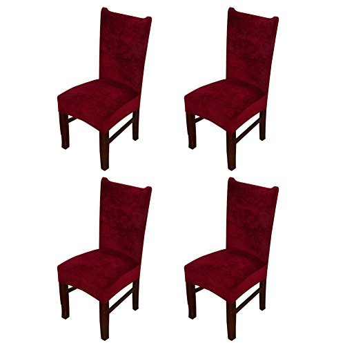 Hemons 4 X Universal Stretch Fox Pile Fabric Chair Covers Removable Washable Ceremony Hotel Dining Room Kitchen Bar Dining Seat Cover Restaurant Wedding Part Decor (Wine Red) (Chair And A Half Covers)