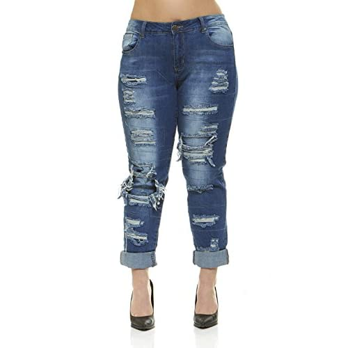 37ee1e43cfe V.I.P.JEANS Plus Size Jeans for Women Distressed Skinny Ripped Patched Jeans  Junior and Plus Sizes
