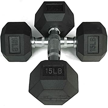 Pair 15 lb Black Rubber Coated Hex Dumbbells Weight Training Set 30 lb Fitness