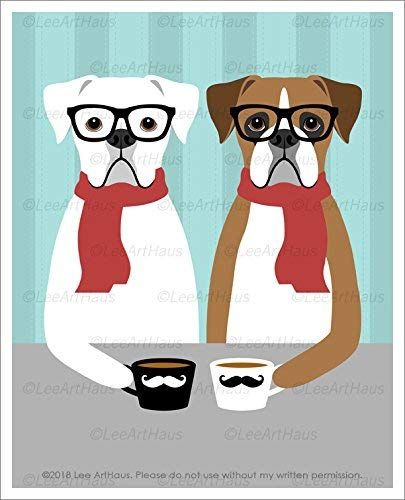 (461D - Hipster Boxer Dogs Drinking Coffee and Wearing Eyeglasses and Scarves UNFRAMED Wall Art Print by Lee ArtHaus)