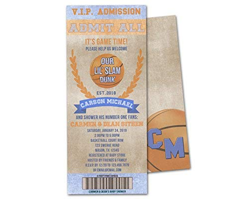 Basketball Baby Shower Invitations Boy Ticket Invite Couples Shower All Star Dunk