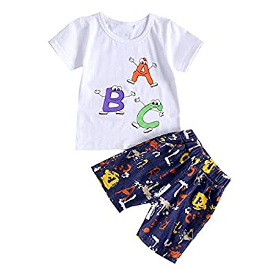 NUWFOR Kids Baby Girl Boy Cartton Letter Print Tops T Shirt Striped Pants Outfits Set