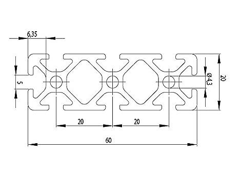 13,50 EUR//m+0,40 EUR pro Schnitt Aluminiumprofil 20x60 I-Typ Nut 5 Zuschnitt