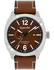 Gigandet G16–002–Orologio da uomo, cinturino in pelle colore marrone