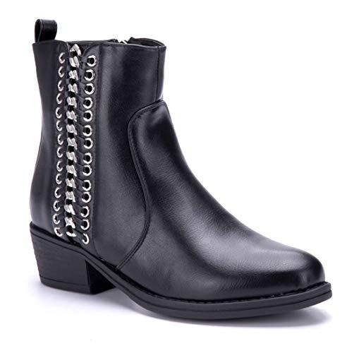 Schuhtempel24 Stiefel Klassische Schuhe Damen cm Boots Schwarz Blockabsatz Zierkette 4 Agnin Stiefeletten wqZ7pRq
