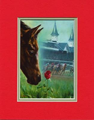 11x14 Run for the Roses Kentucky Derby By Celeste Susany Matted Art Print Race Horse Smells the Roses Chance of a Lifetime Red
