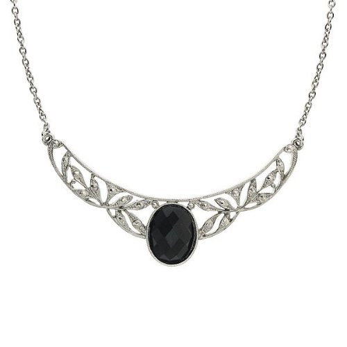 1928 Jewelry Vintage Inspired Marcasite and Jet Black Crystal Silver Tone Collar Necklace