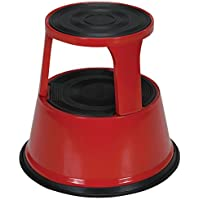Vestil STEP-17-R Steel Rolling Step Stool with Powder Coat Finish, 17-1/8 Top Step Height, 500 lbs Capacity, Red by Vestil