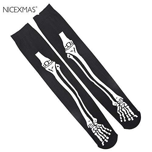 Party Diy Decorations - Halloween Skeleton Printing Knee Socks Bone Long Carnival 60cm - Decorations Party Party Decorations Halloween Plastic Skeleton Cream Underarm Human Body Bodi Glow Nex]()