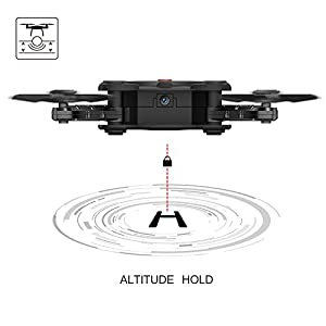 RC Quadcopter Drone with 2.0MP HD Camera Live Video and 2 Batteries Flexible Foldable Aerofoils Headless Mode One Key Return Altitude Hold 3D Flips 2.4G 4CH 6-Axis Gyro Gravity Sensor Helicopter by ScharkSpark