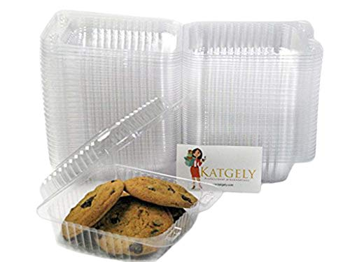 Katgely Small Square Cookie Container (Pack of 50) ()
