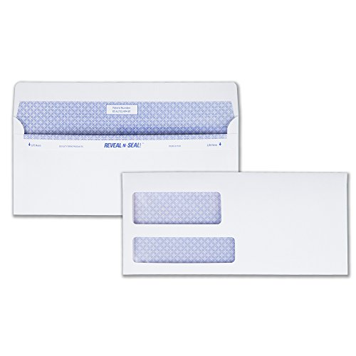 Quality Park #9 Double Window Security Tinted Invoice and Statement Envelope with Reveal-N-Seal Self Seal Closure, 24 lb White Wove, 3-7/8 x 8-7/8. 500 per Box (67529) ()