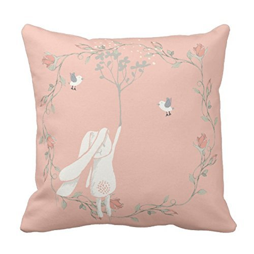 Bunny On The Breeze Floral Wreath Throw Pillow Case Square ...