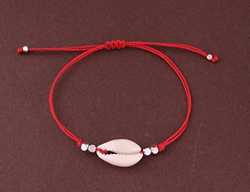 Waxed Thread Boho Bracelet Woman Man Bohemian Black Blue Pink Simple Tiny Shells Bracelet Anklet Bileklik Erkek,Imitation Rhodium Plated